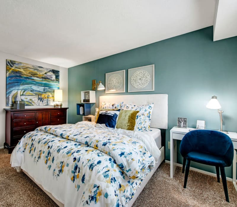 Well decorated bedroom at Country Village Apartments in Bel Air, Maryland