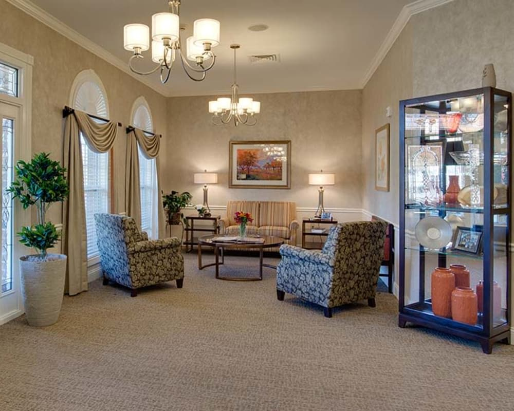 Cozy lounge area at Westport Estates Senior Living in Marshall, Missouri