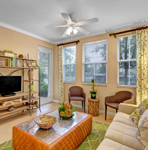 Bright, well decorated living room at City Center on 7th Apartment Homes in Pembroke Pines, Florida