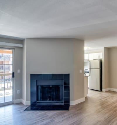 Living Room with Fireplace at Vista at 23 Apartments