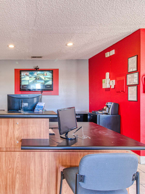 Inside the leasing office at Devon Self Storage in Apple Valley, California