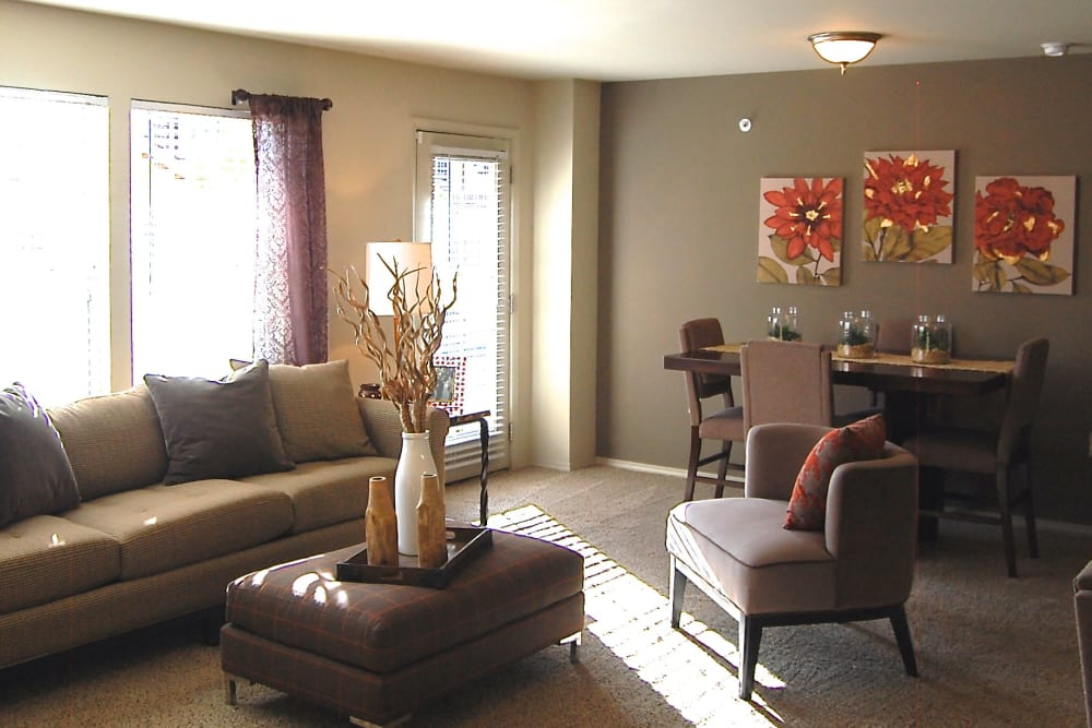 Bright living room at Park at Coulter in Amarillo, Texas