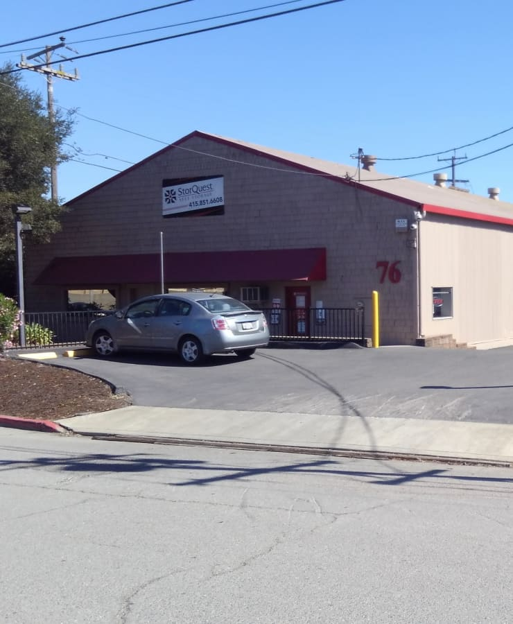 The exterior of the main entrance at StorQuest Self Storage in San Rafael, California