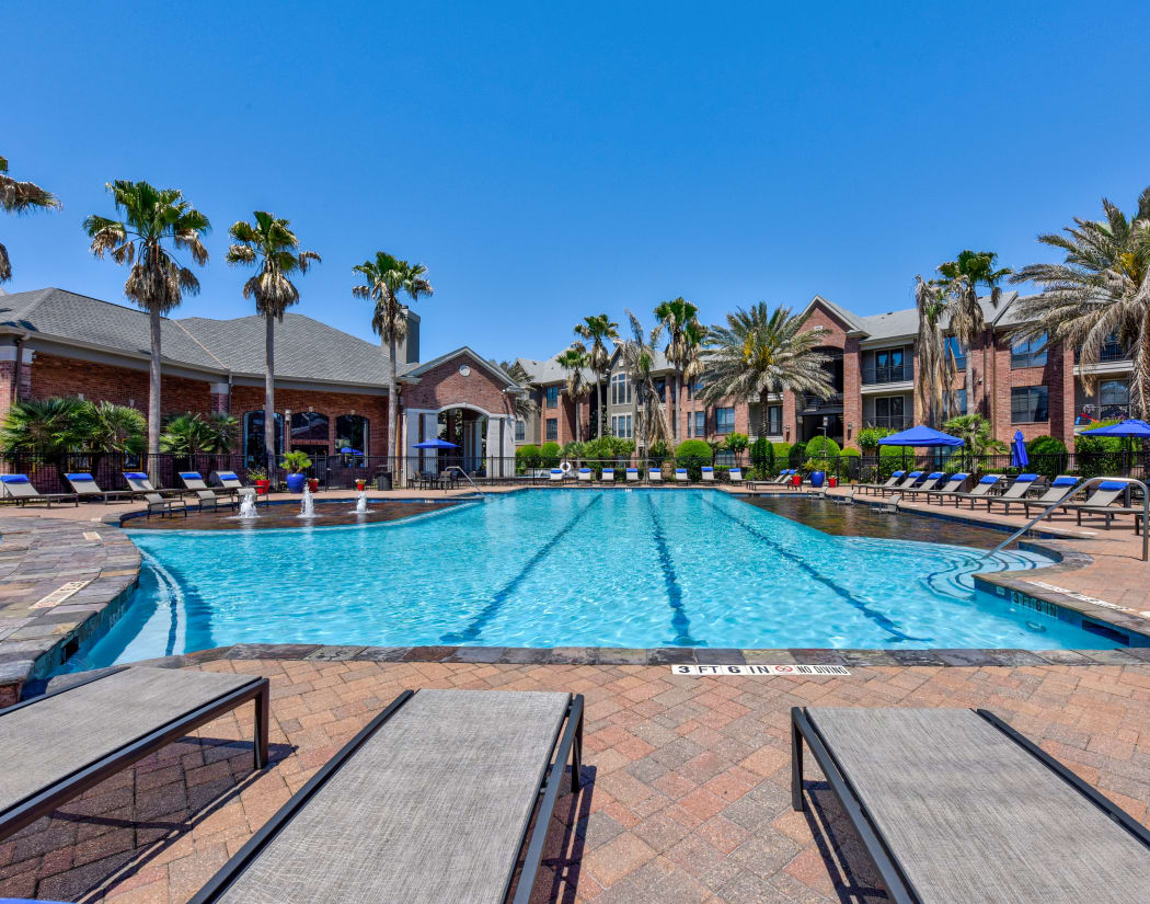 Olympic-sized swimming pool at San Paloma Apartments in Houston, Texas