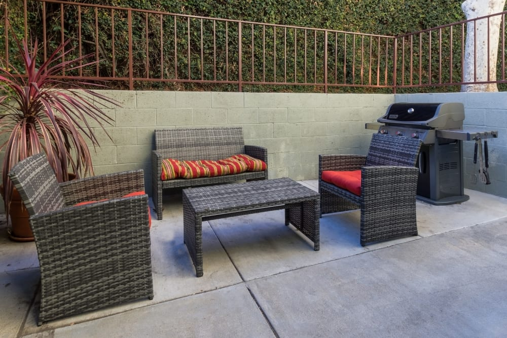 Social area with BBQ grills of The Diplomat in Studio City, California