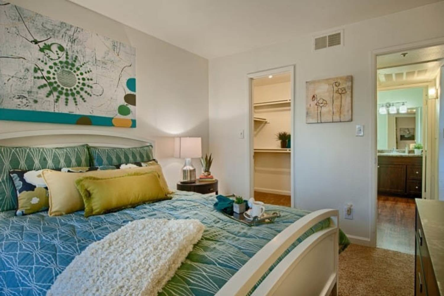 Cabrillo Apartments offer roomy  bedroom interiors in Scottsdale, Arizona