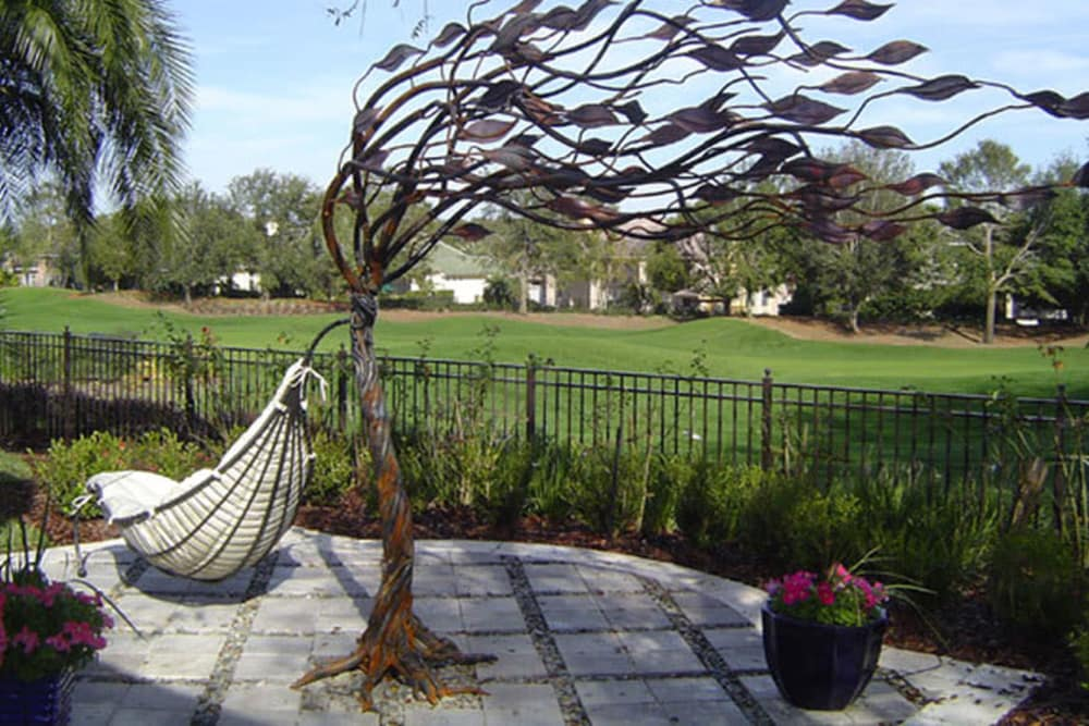 Metal tree display at Jefferson Westshore in Tampa, Florida