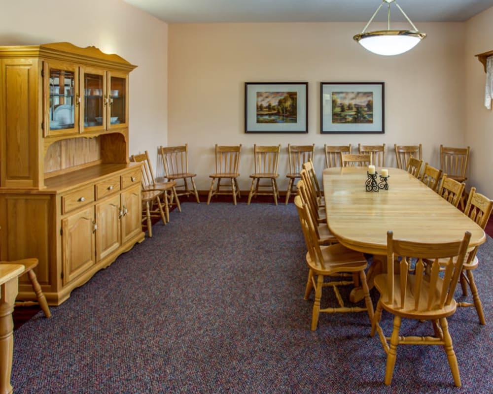 Spacious family-style dining room at Prairie Hills in Tipton, Iowa.