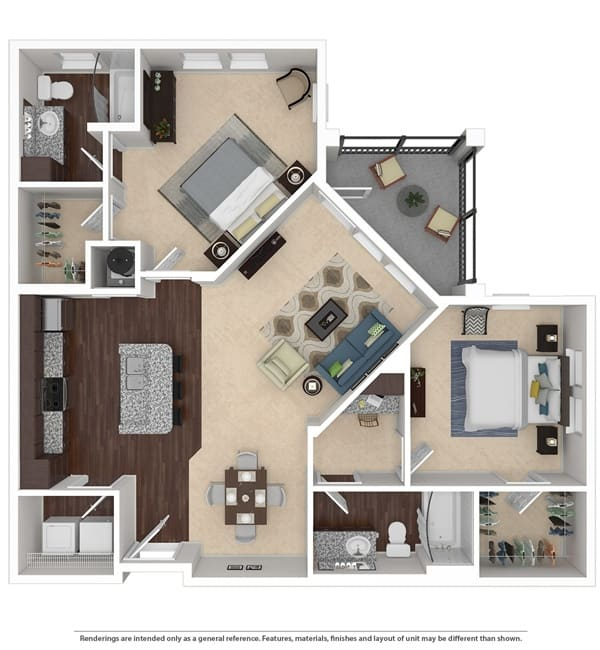 Two bedroom floor plan at Integra 360 Apartment Homes in Winter Springs, Florida