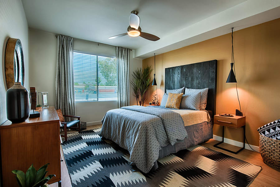Model bedroom at The TOMSCOT in Scottsdale, Arizona