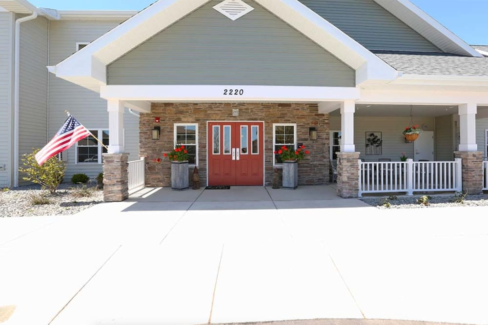 Main entrance to apartment buildings at Milestone Senior Living in Stoughton, Wisconsin.