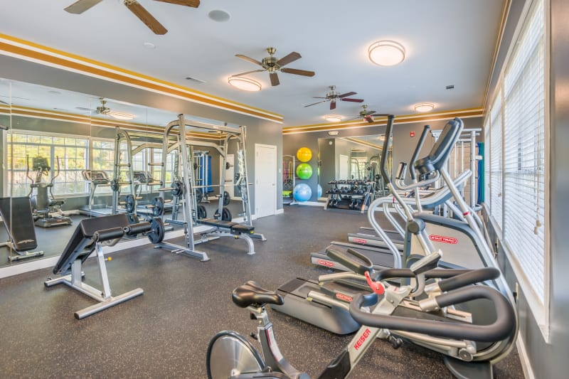 Well equipped fitness center at The Oxford in Conyers, Georgia