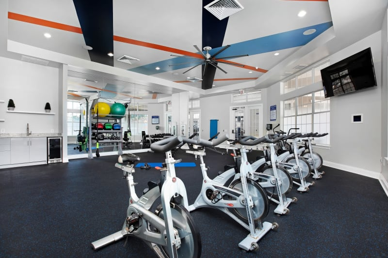Plenty of stationary bikes in fitness center at The Aspect in Kissimmee, Florida