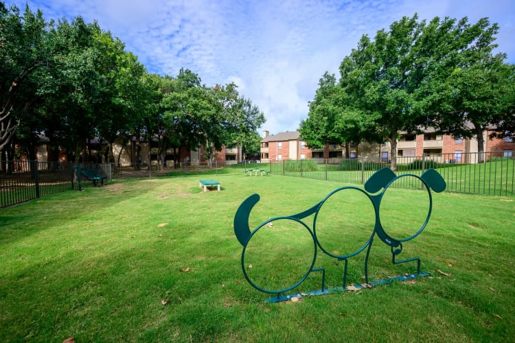 Private dog park for residents at The Logan in Bedford, Texas