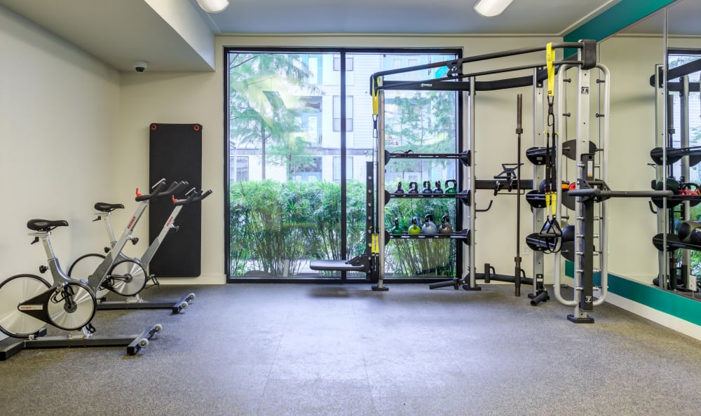 Well-equipped fitness center at Agave in San Antonio, Texas