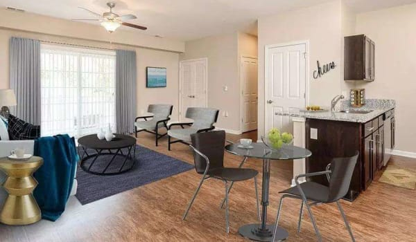 Beautifully designed living room at Canal Crossing in Camillus