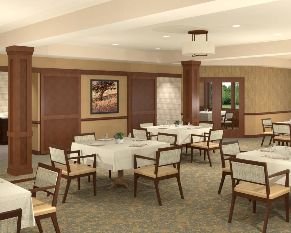 Large resident dining room at Willows Landing in Monticello, Minnesota.