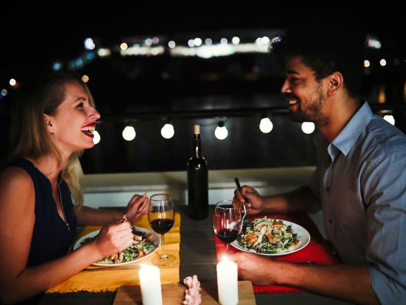 Couple having dinner together at Ocean Park of Ponte Vedra in Jacksonville Beach, Florida