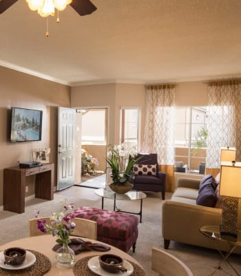 Luxury living room with plush carpeting at Paloma Summit Condominium Rentals in Foothill Ranch, California