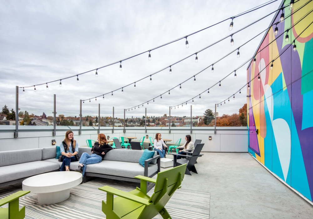 Rooftop lounge at evolve on Main in Pullman, Washington