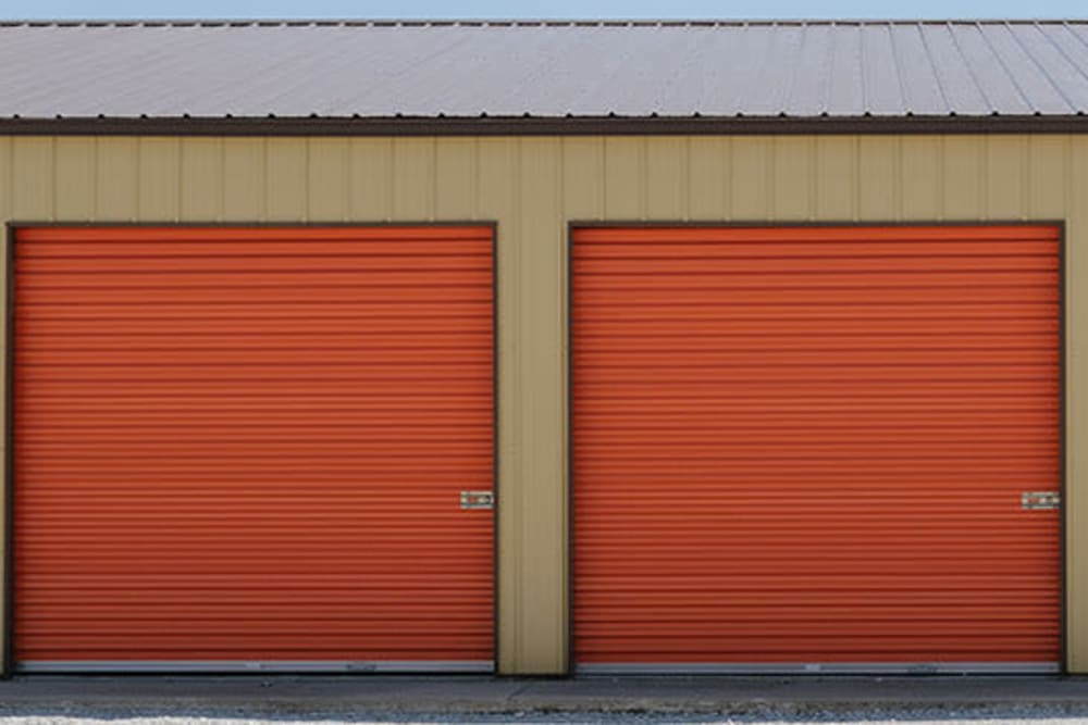 Roll-up doors on self storage units at StayLock Storage in Hebron, Indiana
