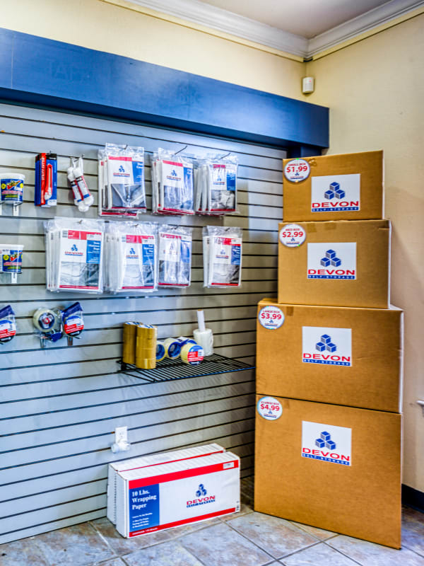Packing supplies sold at Devon Self Storage in Sherman, Texas