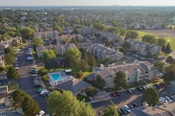 aerial shot of property and surrounding areas at Alton Green Apartments in Denver