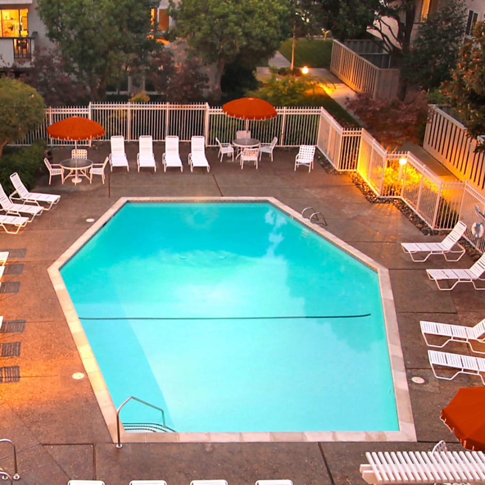 Aerial view of the swimming pool at Newport Apartments in Campbell, California