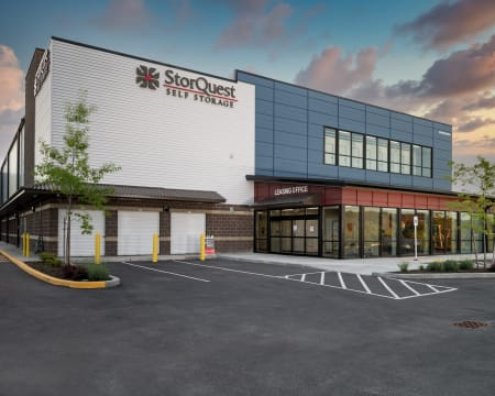 Exterior view of the facility at StorQuest Self Storage in Redmond, Washington.