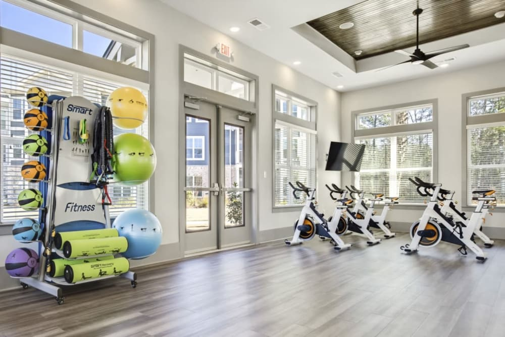 Fitness center at South City Apartments in Summerville, South Carolina