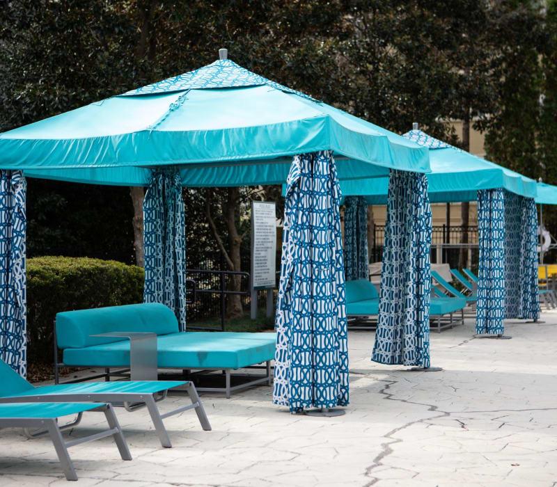 Poolside lounge chairs at Marq Perimeter in Atlanta, Georgia