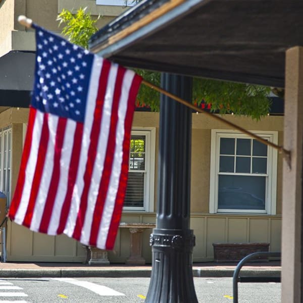 American flag near The Meyden in Bellevue, Washington