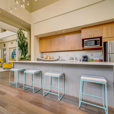 Demonstration kitchen in the clubhouse at Sofi Sunnyvale in Sunnyvale, California