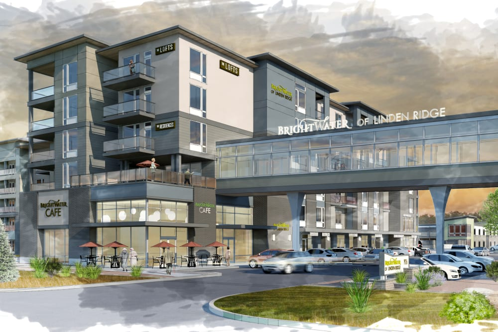 A rendering of the parking lot and main entrance at The Courtyards of Linden Pointe in Winnipeg, Manitoba