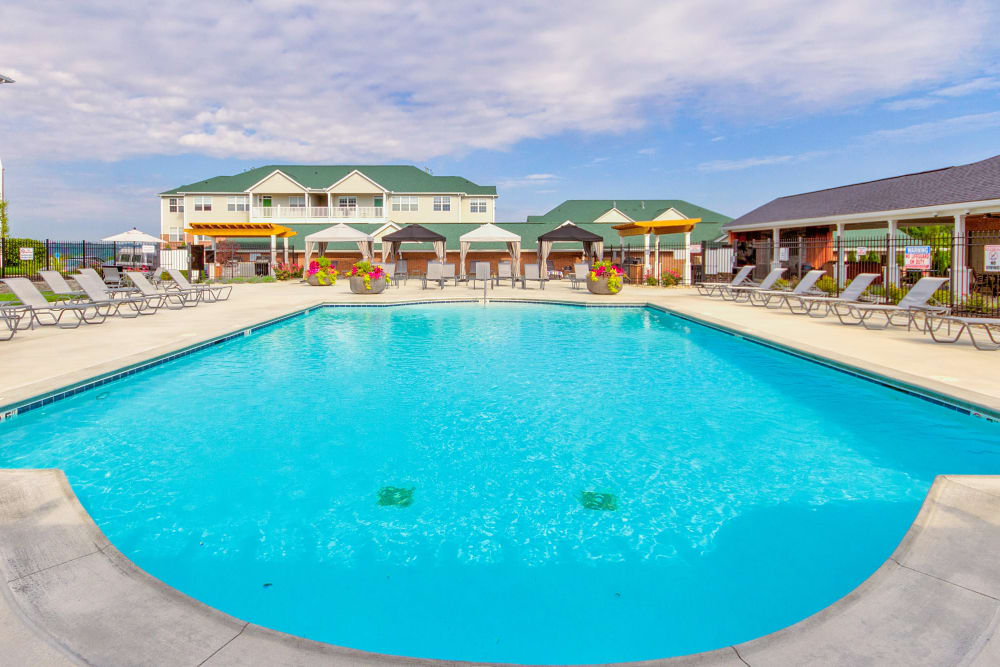Take a dip in the massive swimming pool at Aspen Pines Apartment Homes in Wilder, Kentucky