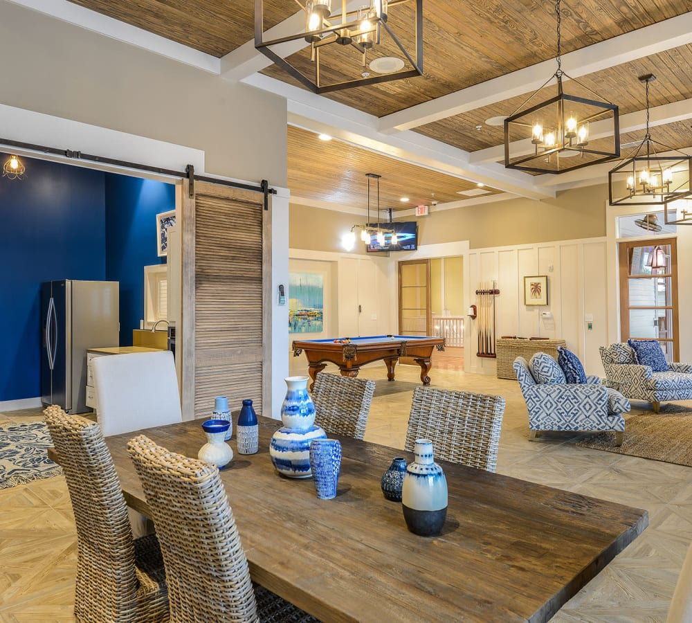 Rustic-modern decor in the clubhouse at Palm Bay Club in Jacksonville, Florida