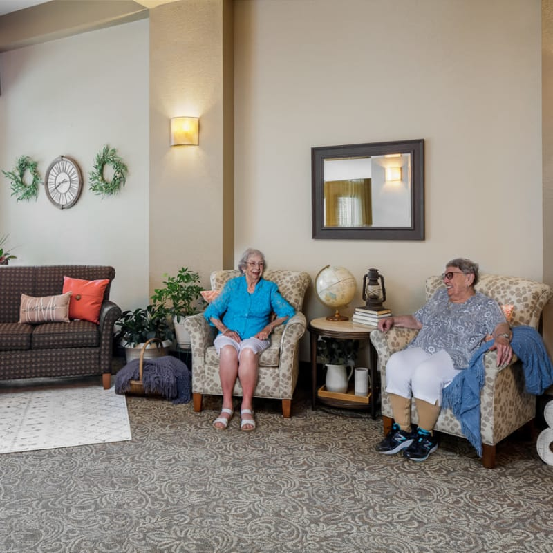 Residents in the common area at Ramsey Village Continuing Care in Des Moines, Iowa