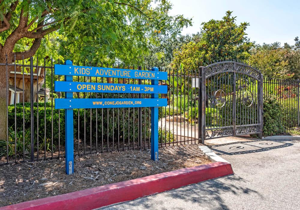 Entrance to the kids adventure garden at the Conejo Garden near Sofi Thousand Oaks in Thousand Oaks, California