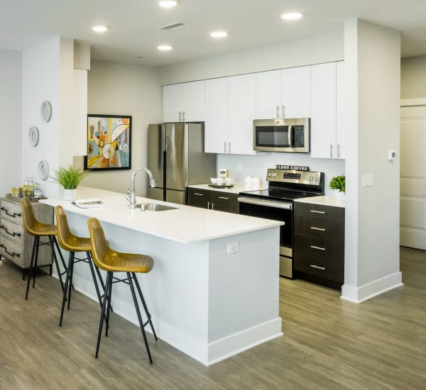 Fully equipped kitchen at Gateway Commons in East Lyme, Connecticut