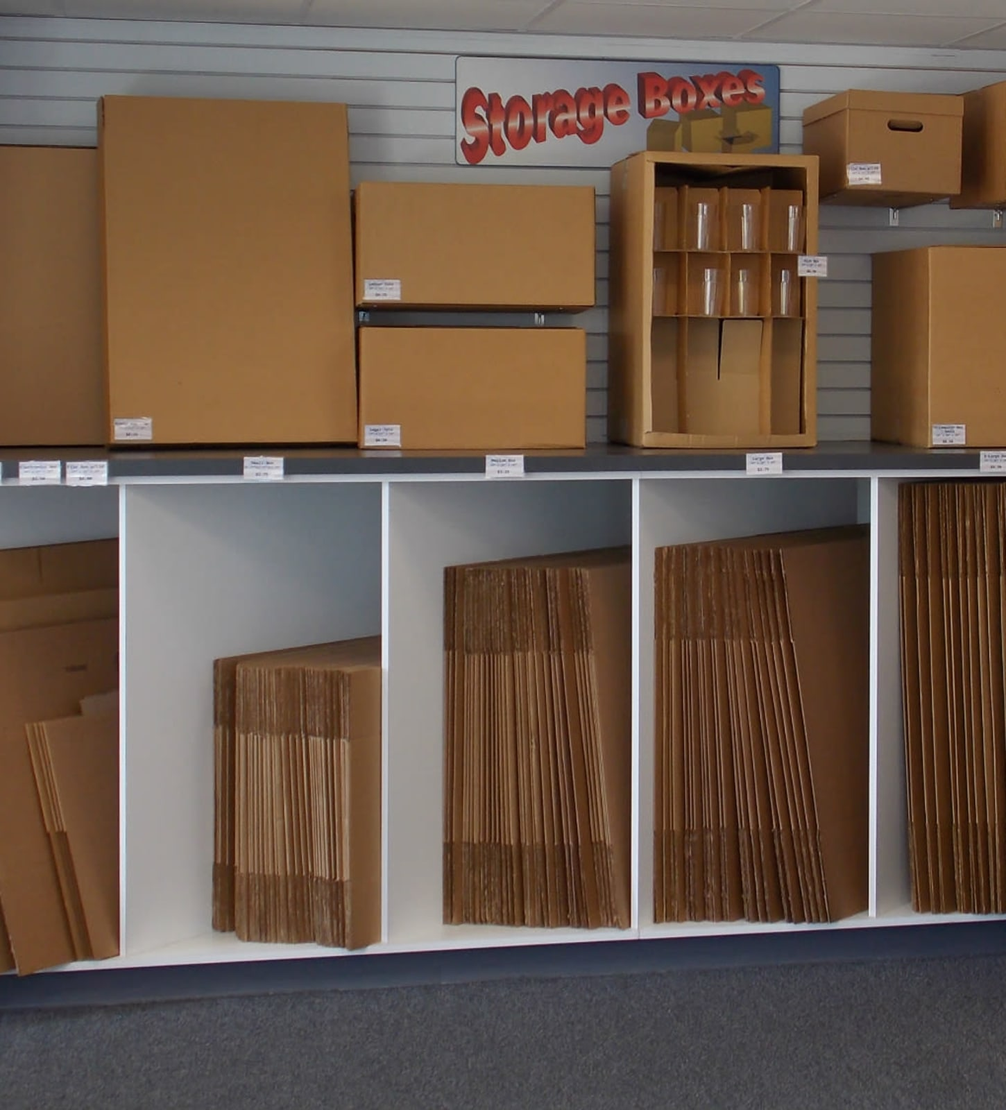 Storage boxes for sale at Air and Space Self Storage