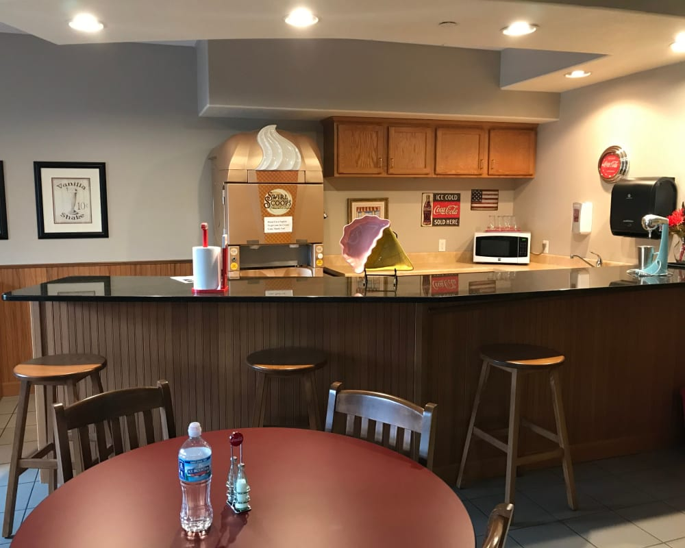 Resident snack bar with ice cream at Prairie Hills Senior Living in Des Moines, Iowa.