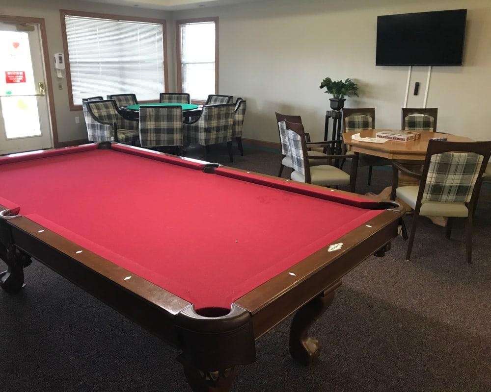 Spacious activity room at Prairie Hills Senior Living in Des Moines, Iowa.