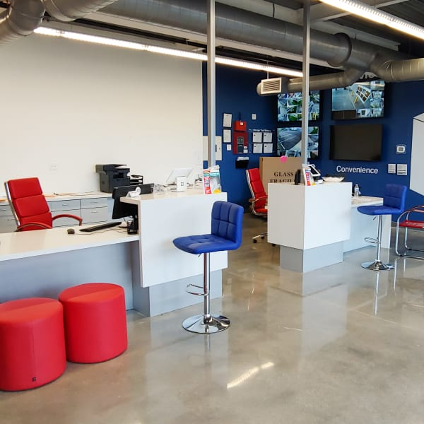 Interior of the leasing office at StorQuest Self Storage in North Miami, Florida