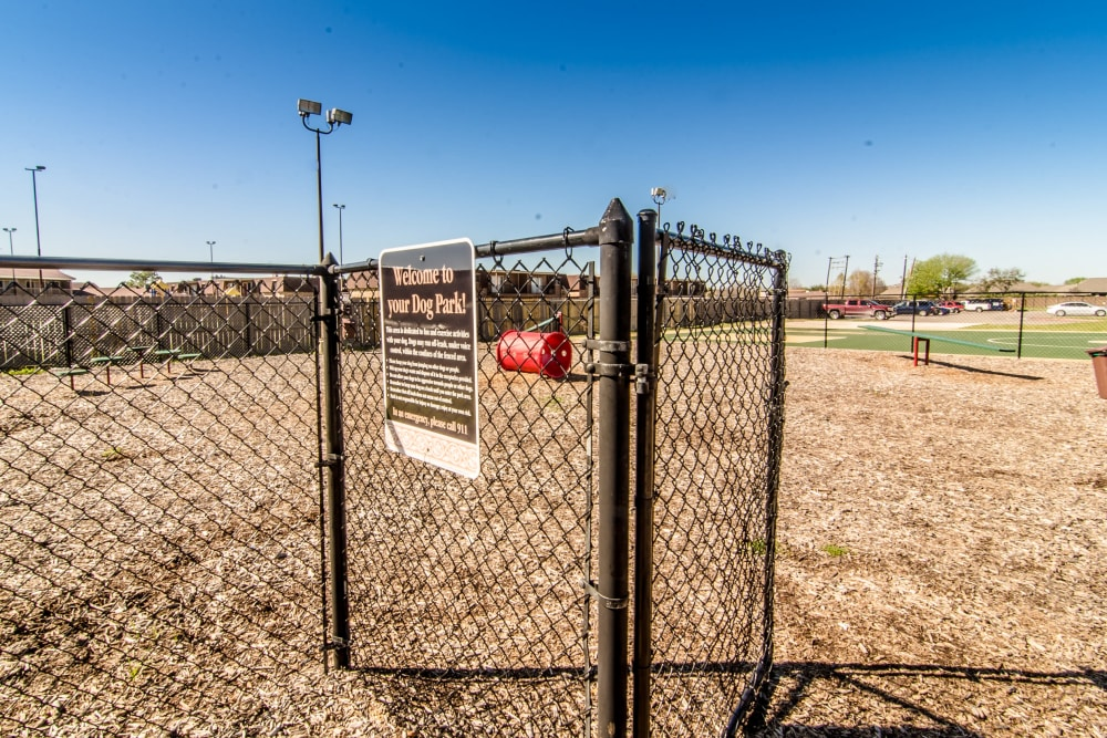 Newly updated dog park at Cedar Ridge Apartments in Baytown, Texas