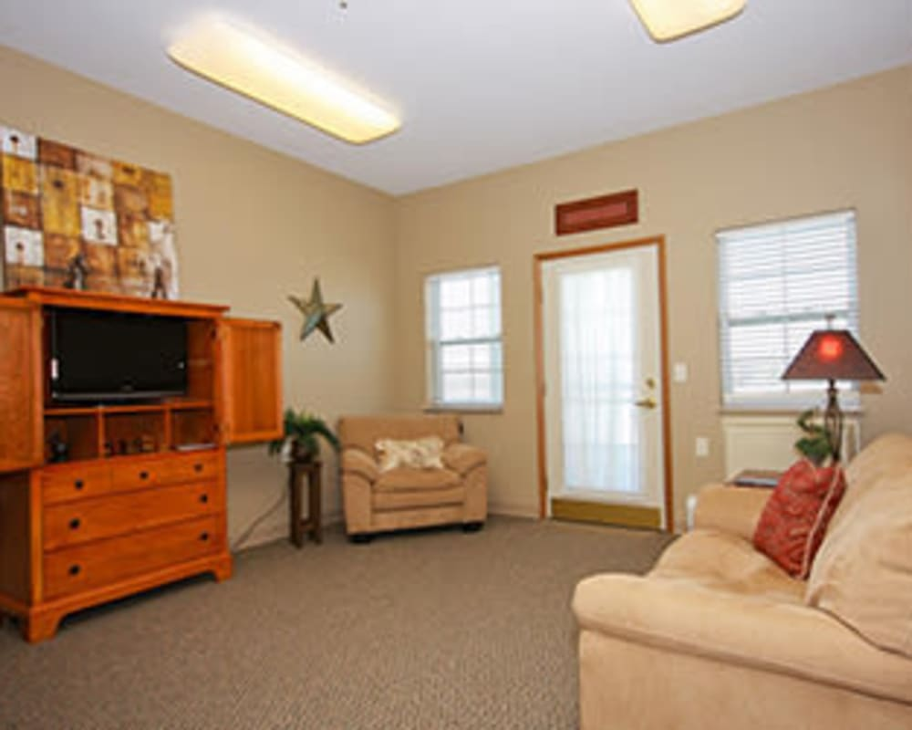 Spacious living rooms are available at Milestone Senior Living in Faribault, Minnesota.