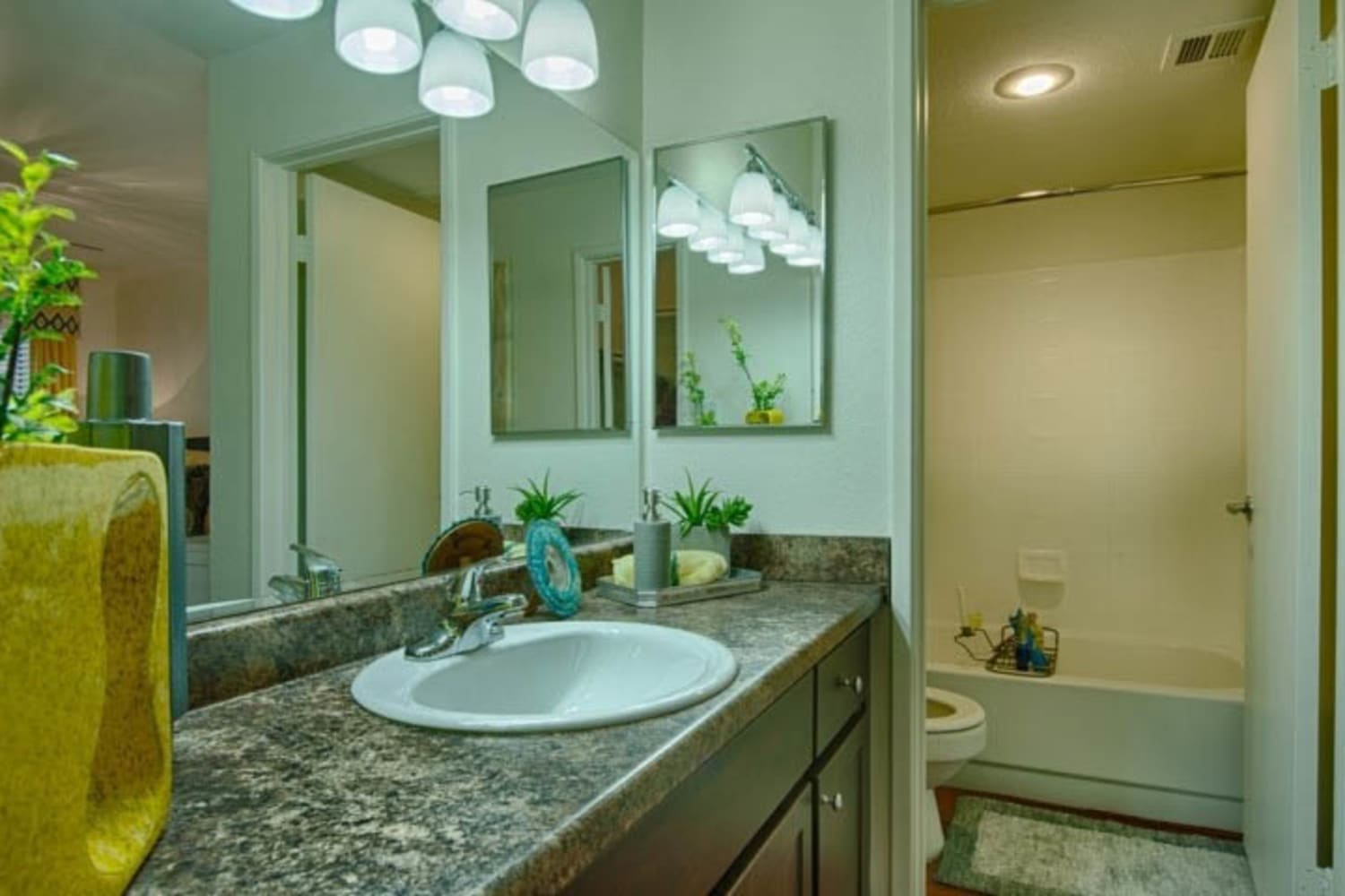 Cabrillo Apartments offer ample counter space in bathroom interiors in Scottsdale, Arizona