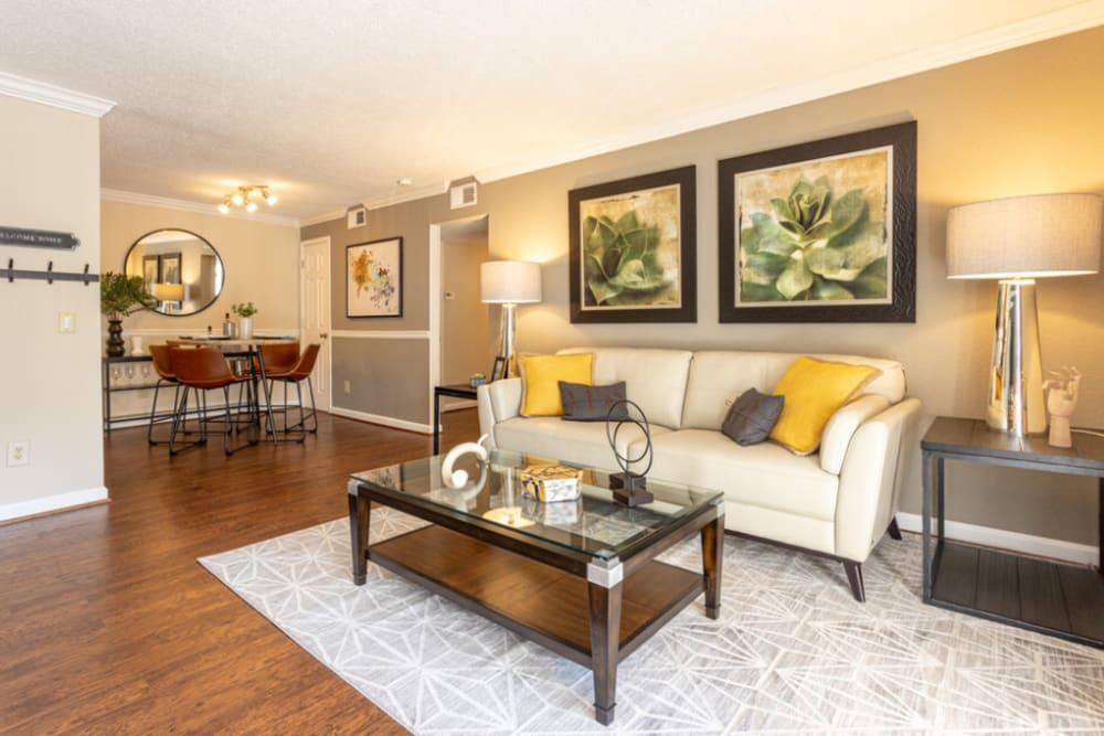 Living room at The Abbey at Riverchase in Hoover