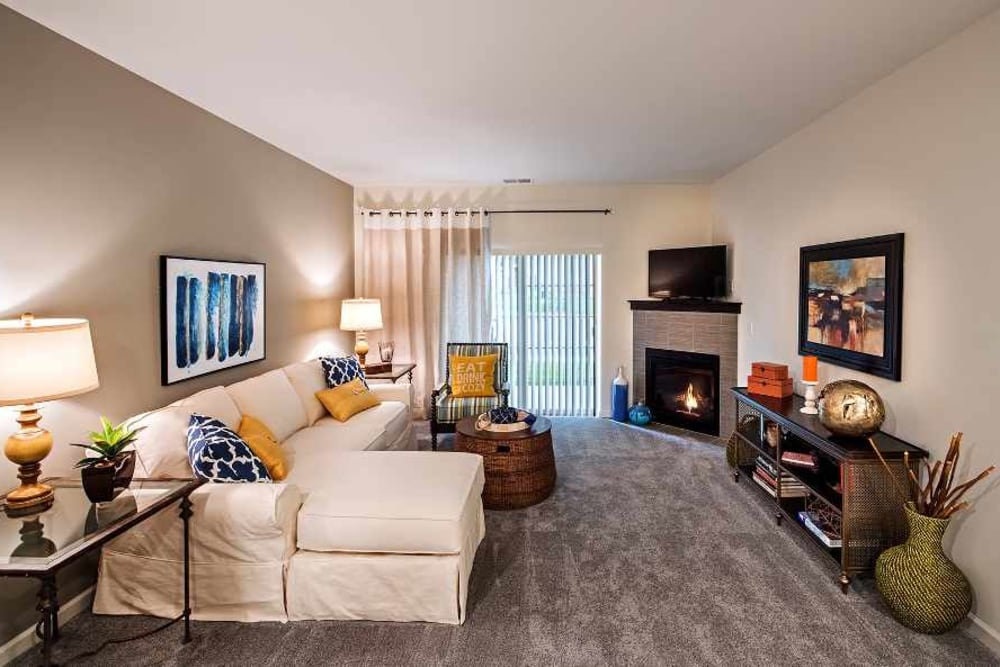 Beautifully designed living room at Eden Square Apartments
