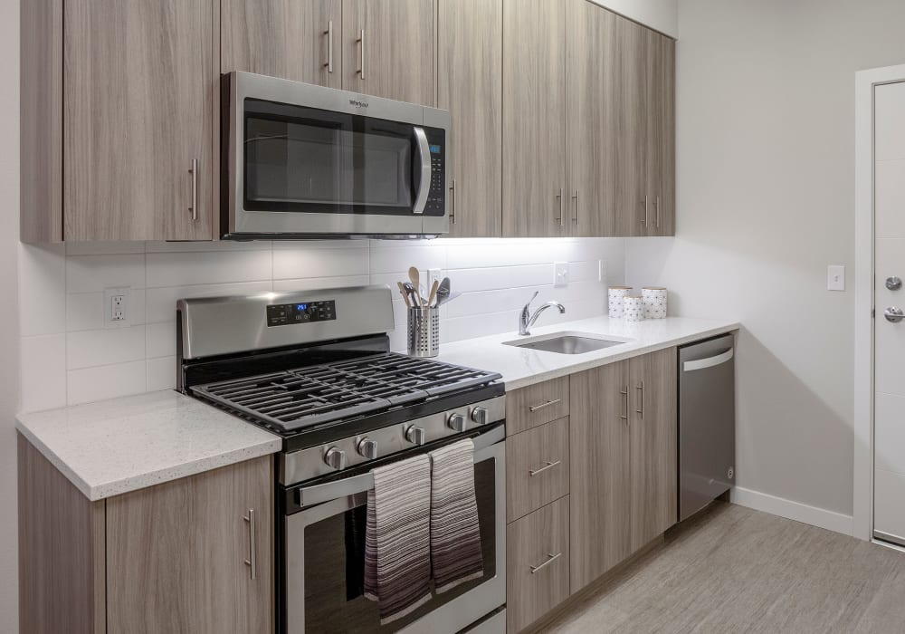 Sleek, modern kitchen at Sandy Fifty One in Portland, Oregon
