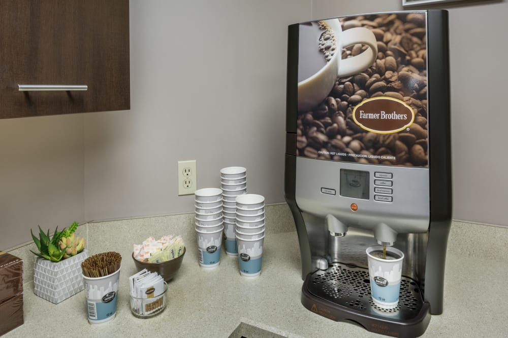 Coffee available in the community center at Greenwoods in Brockton, Massachusetts
